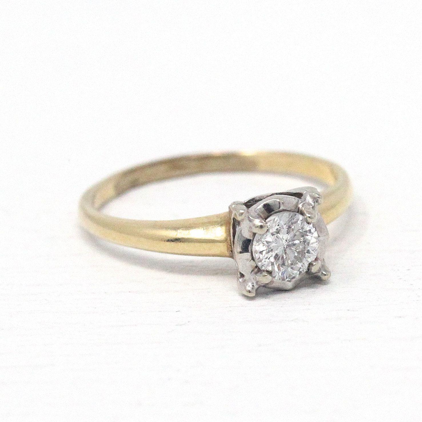 Vintage Diamond Ring 1950s Size 7 1/4 14k Yellow & White