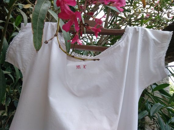 "Antique French white cotton dress ""M"" red front monogram lace trimmed. French…"
