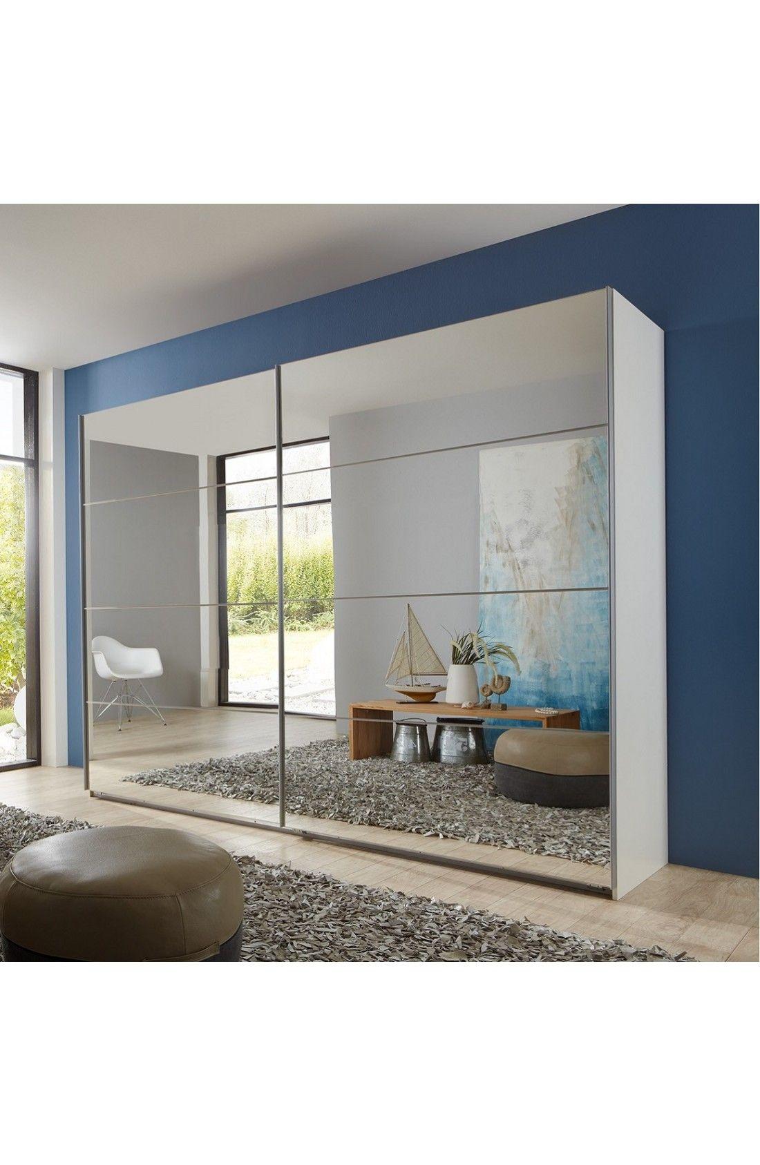 Slumberhaus Eleganz Modern White Full Mirror Sliding Door
