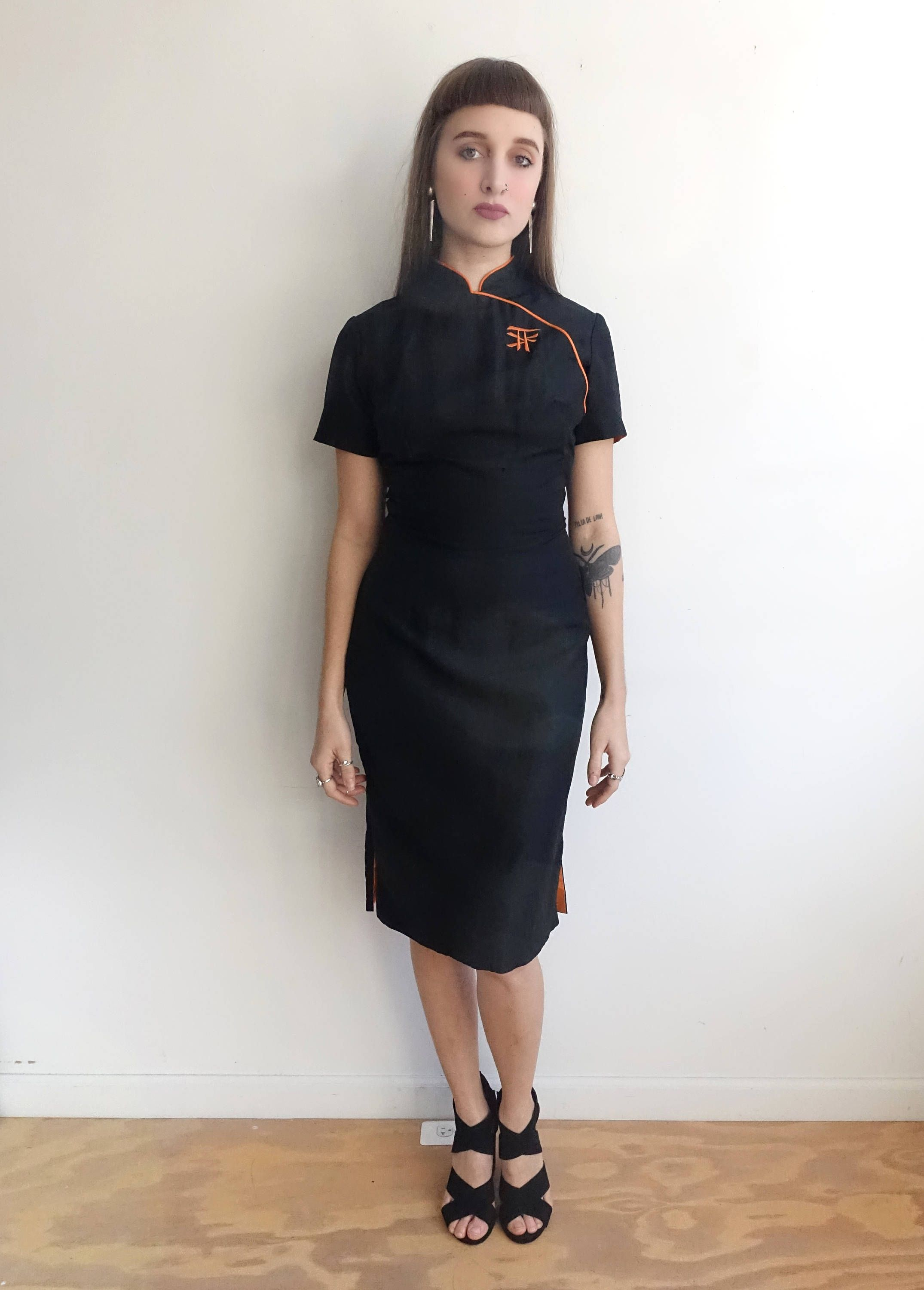 Vintage 60s Black And Orange Cheongsam Dress 1960s Fitted Mandarin