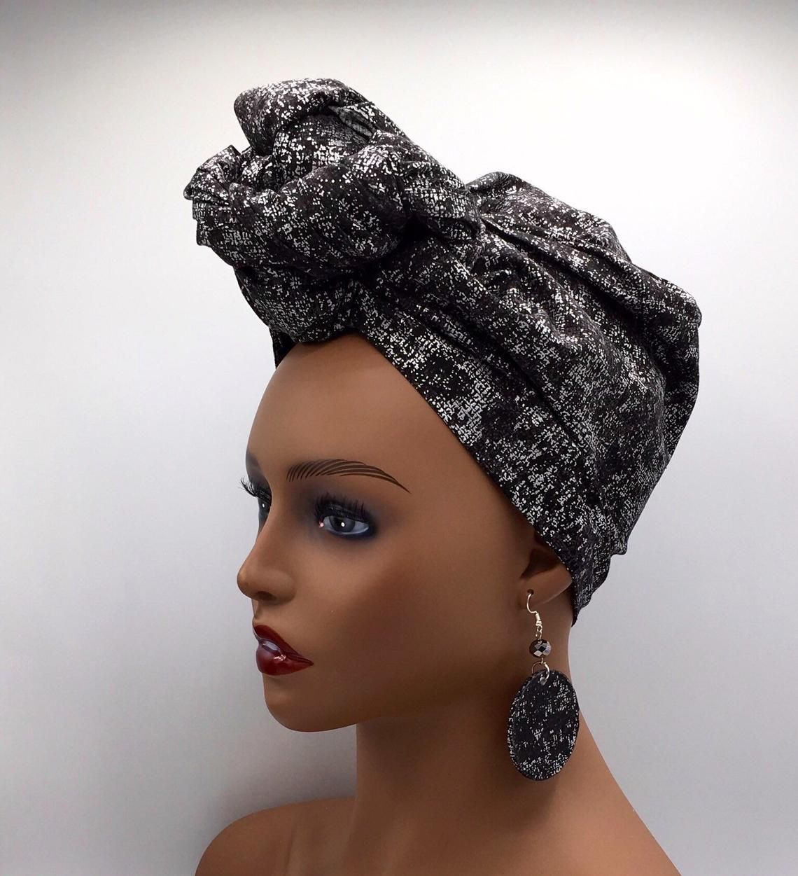 Black and Silver Head Wrap African Head Wrap African Scarf