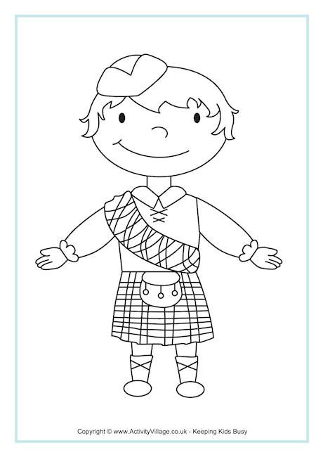 Scottish boy colouring page kaden 39 s project pinterest for Scotland coloring pages