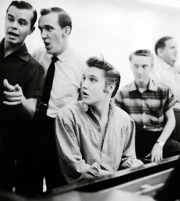 L-R Neal Mattews, Hugh Jarrett, Elvis at the piano, Gene Smith, and Steve Sholes.
