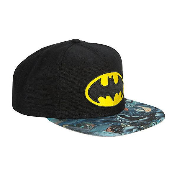 9227098918e65 DC Comics Batman Logo Sublimation Bill Snapback Hat Hot Topic ( 16) ❤ liked  on Polyvore featuring accessories and hats