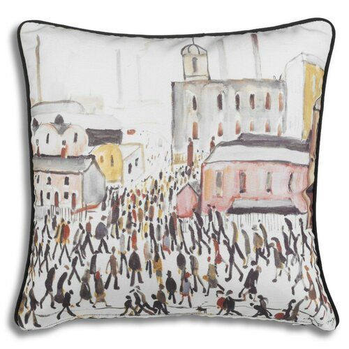 Marlow Home Co. This cushion cover is printed from original artwork by well known British artist L S Lowry. Lowry was born November 1st 1887 in Stretford, England. He died February 23rd 1976 in Glossop, Derbyshire, England. He is famous for painting scenes of life in the industrial district of North West England. Many of his paintings depict Pendlebury, Lancashire, where he lived and worked for more than 40 years. He developed a distinctive style of painting and is best known for his urban lands