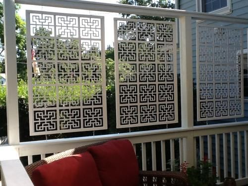 Acurio latticeworks 1 4 in x 32 in x 4 ft white chinese for Hanging privacy screens for decks