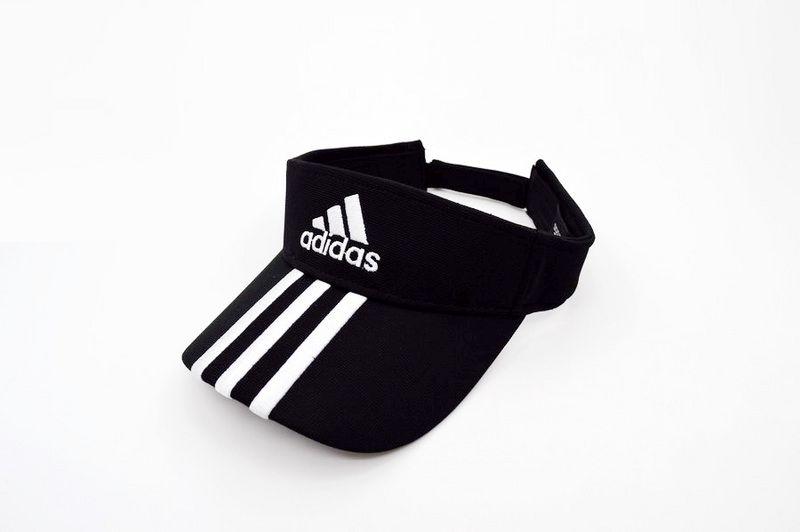 9557a286 Mens / Womens Adidas Basic Logo Golf Tour Essential 3 Stripe Embroidery  Touch-Fasten Size Adjustable Visor Cap - Black