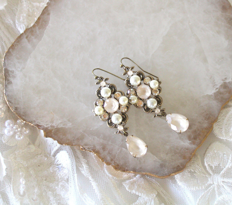 Crystal Bridal Earrings Bridal Jewelry Swarovski Ivory Cream Wedding Earrings Antique Gold Crystal Drop Earrings Wedding Jewelry With Images Crystal Drop Earrings Wedding Bridal Earrings Vintage Crystal Bridal Bracelet