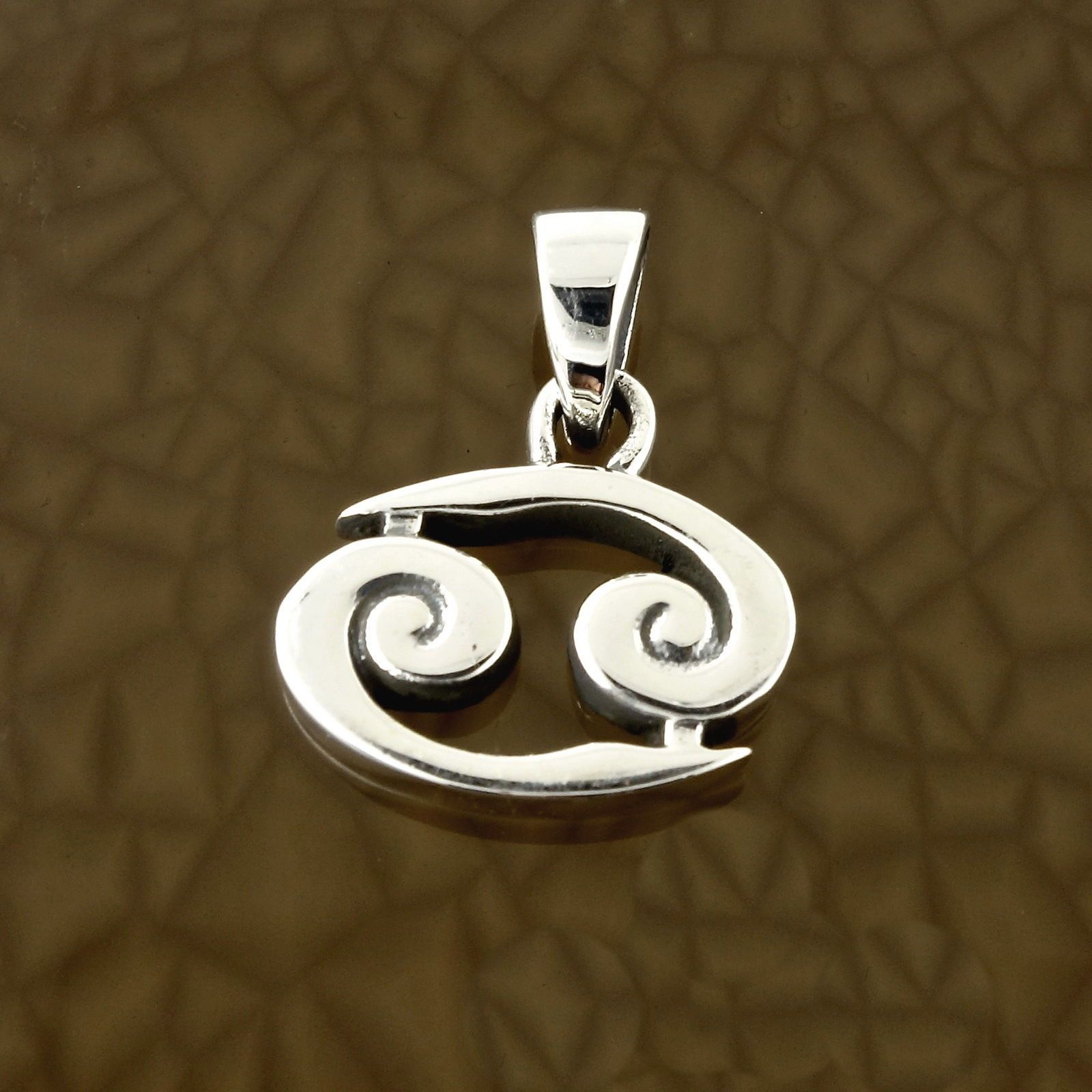 Cancer Zodiac Symbol Pendant In Solid 925 Sterling Silver Symbolic