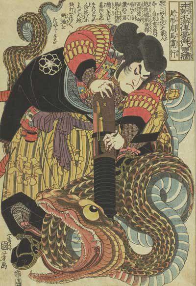 大蛇に大砲を向けるのは忍術を使う自来也(尾形周馬寛行)。大蛇の顔も迫力満点です。太田記念美術館