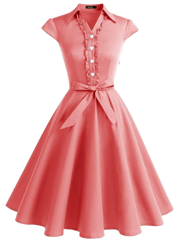 31b678933943 Wedtrend Women s 1950s Retro Rockabilly Dress Cap Sleeve Vintage Swing Dress  at Amazon Women s Clothing store