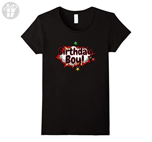 Womens Birthday Boy Cool Kids Comic Superhero Youth T-Shirt Medium Black - Birthday shirts (*Amazon Partner-Link)