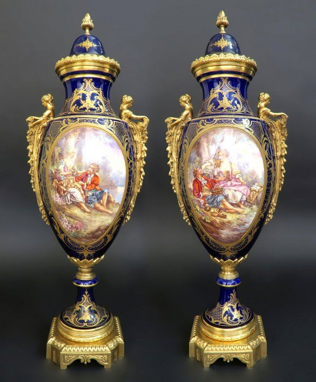 Monumental Pair Of French Bronze Sevres Vases Lot 251