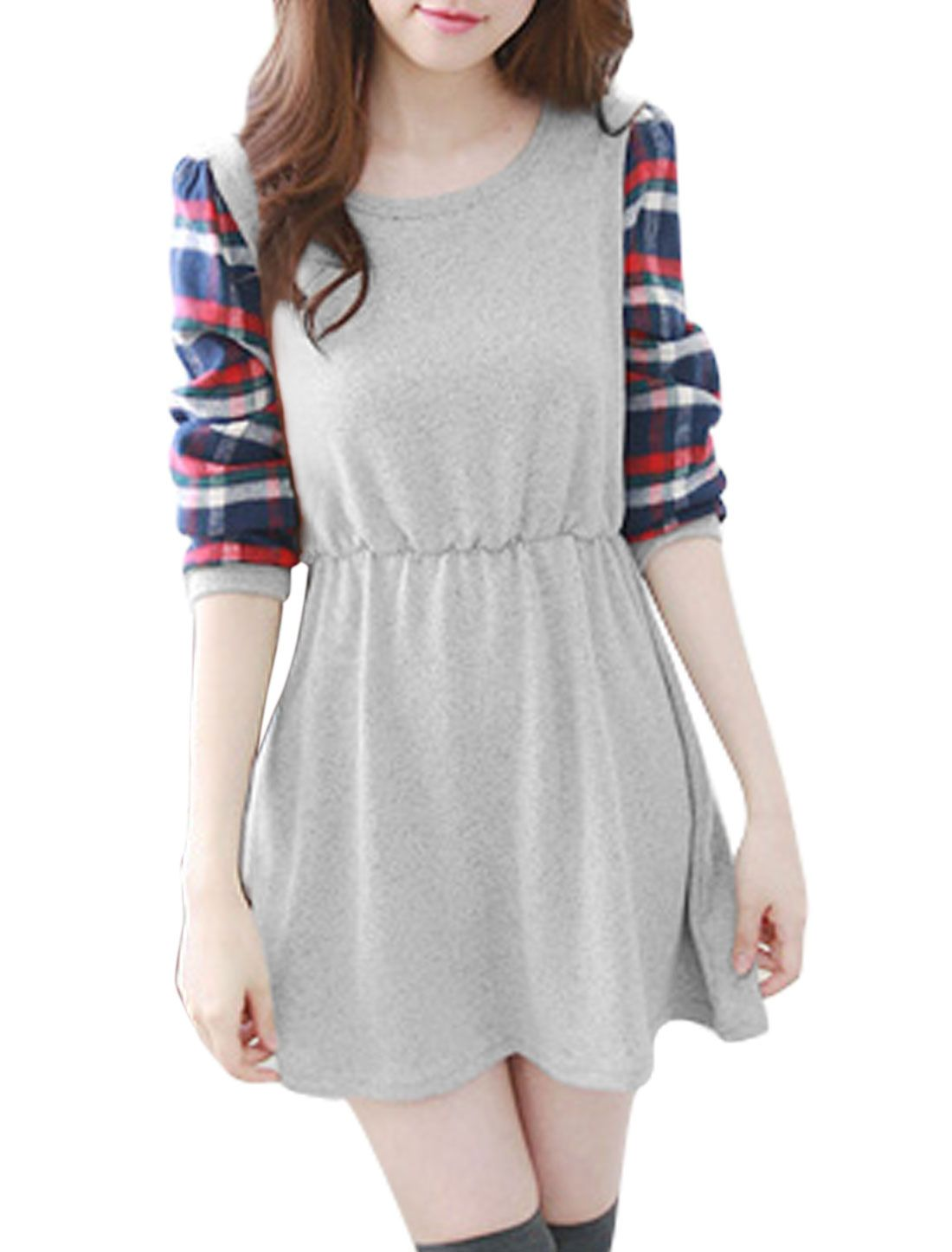 Allegra K Women's Round Neck Long Sleeves Unlined Pullover Skater Dress Gray (Size S / 4)