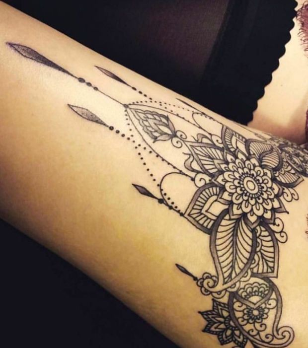 Soyez inspirée avec ce tatoo  Exemple tatouage cuisse mandala femme avec  arabesques et bijoux pendentifs. Retrouvez tous les modèles, significations  de