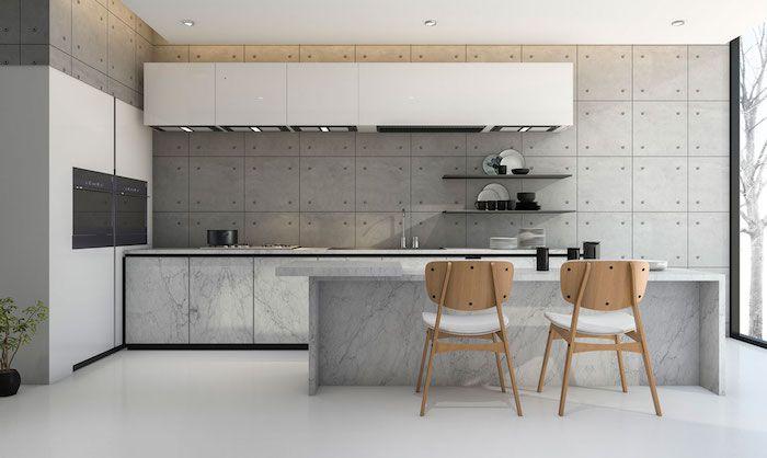 Idée De Deco Cuisine Gris Et Blanc, Cuisine Avec Mur Gris Finition Baton,  Ilot