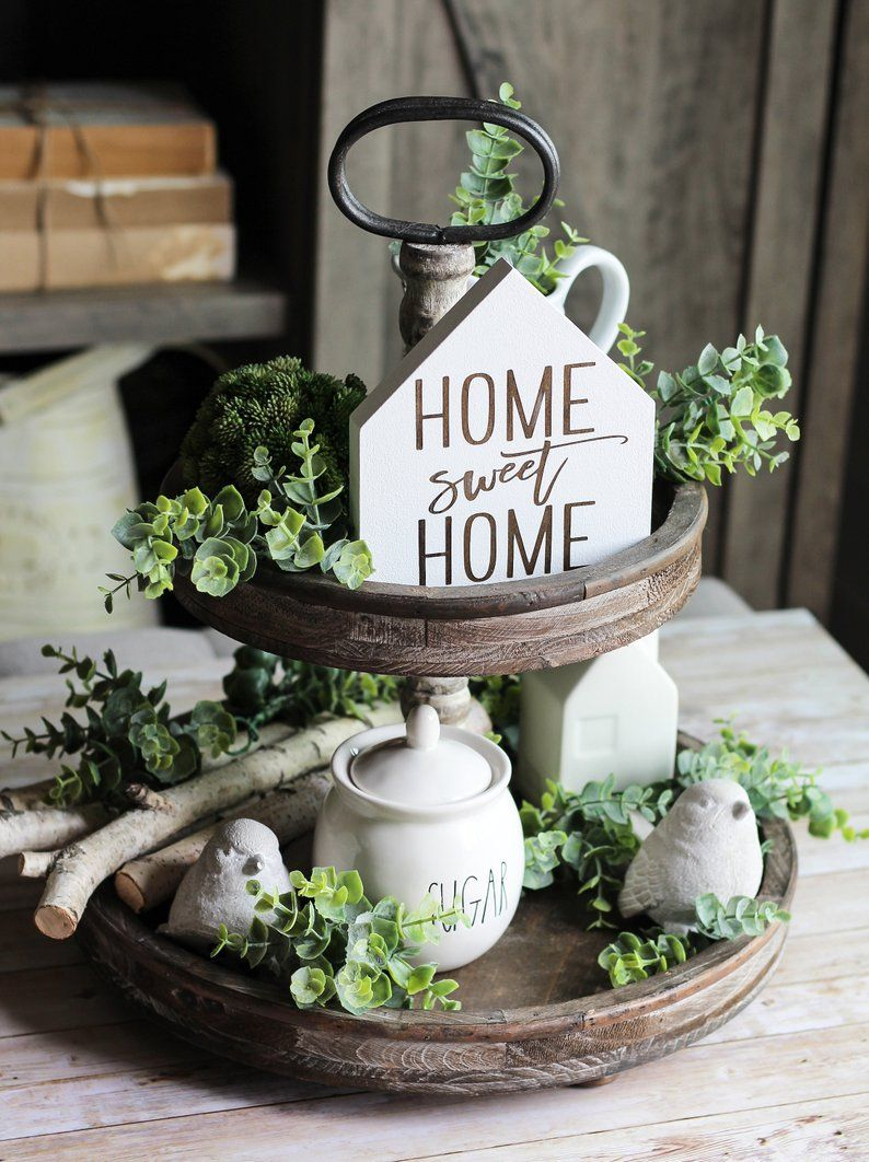 Home Decor - Tiered Tray Sign-Home Sweet Home - Farmhouse Decor - Tiered Tray Decor Sign - Christmas Stocking Stuffer - Housewarming Gift #tieredtraydecor