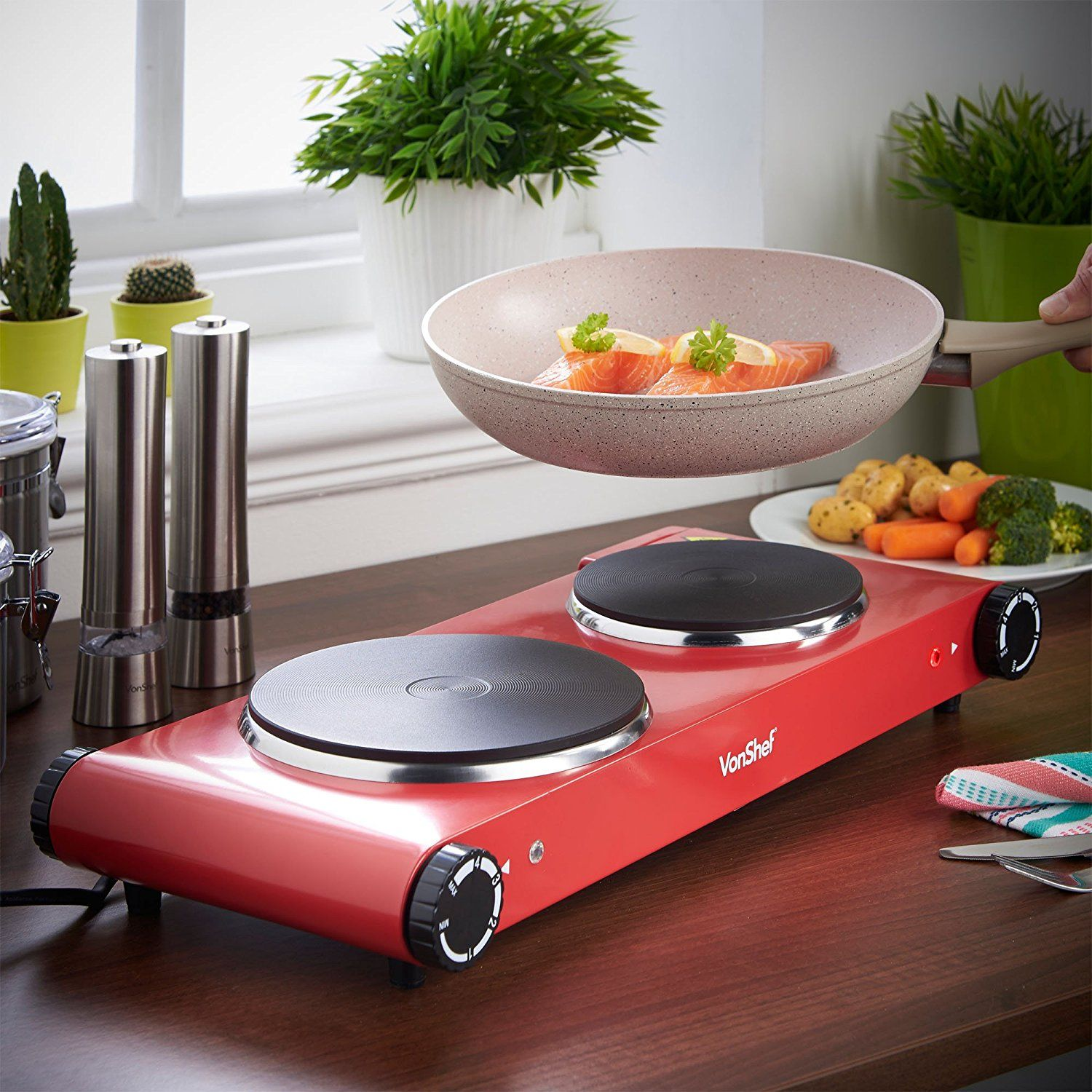 VonShef Double Hot Plate, Premium Electric Red Cooker Hob