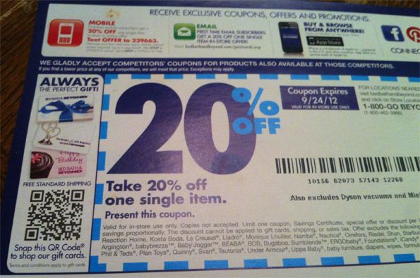 Bed Bath and Beyond Direct Mail Piece  Includes a QR Code to shop for Gift. Bed Bath and Beyond Direct Mail Piece  Includes a QR Code to shop