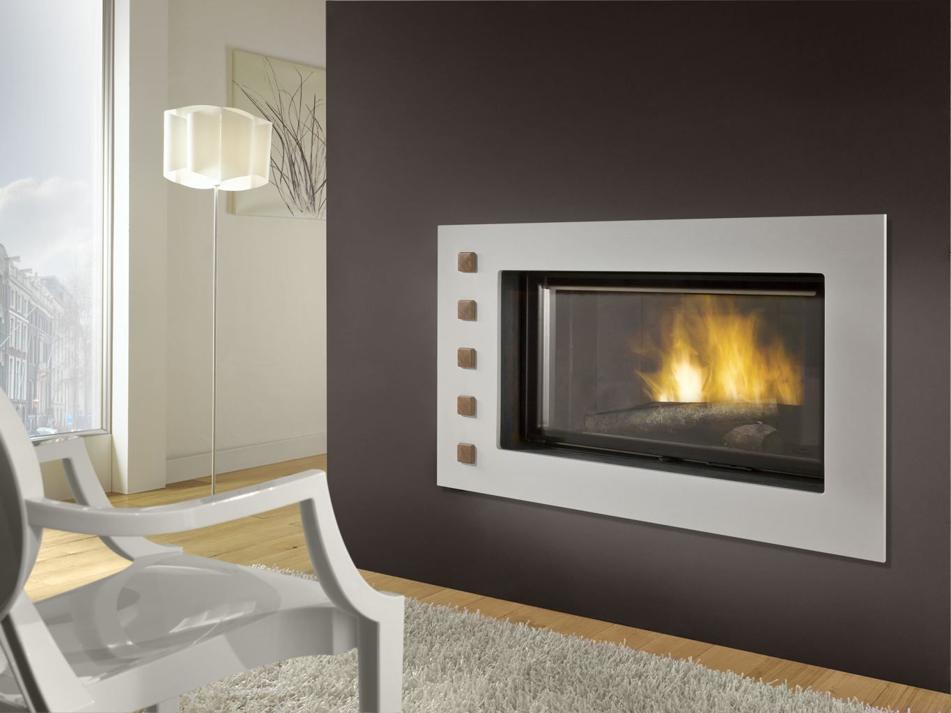 D1350 Fireplace With Dual Opening Door System Cheminees Chazelles