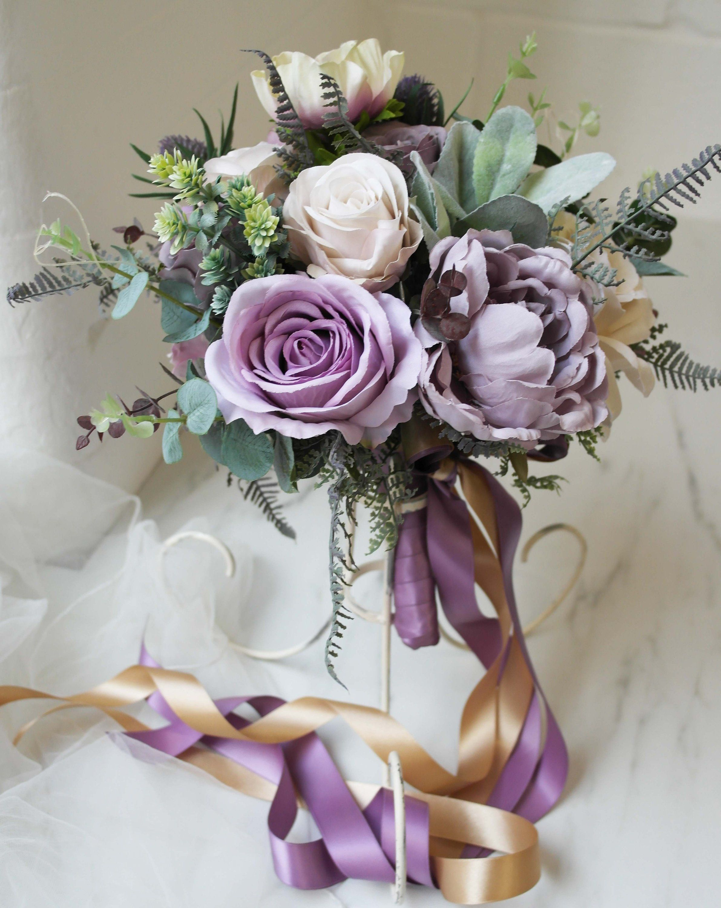 Beautiful Handmade Wedding Bouquet With A Selection Of Purple