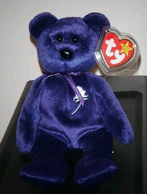 195de1f5b90 RARE Princess Diana Violet Bear Ty Beanie Baby with Tag Protector and Case