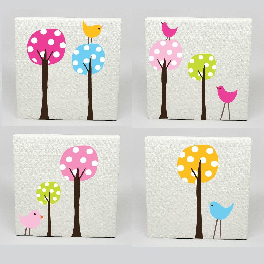 kids canvas art set of 4 polka dot tree birds nursery childrens wall prints. Black Bedroom Furniture Sets. Home Design Ideas
