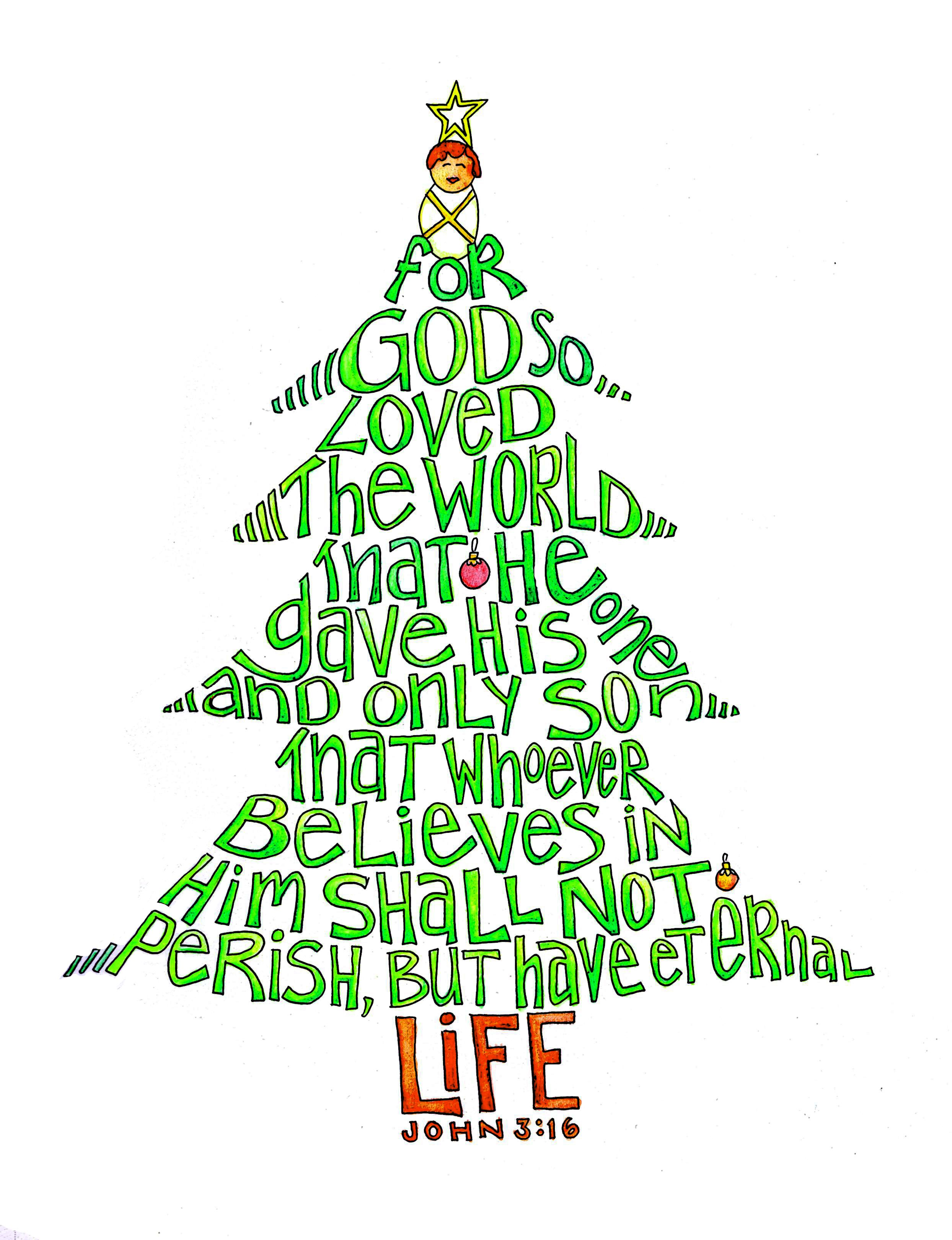 Tis The Season John 3 16 Christmas Tree Word Art