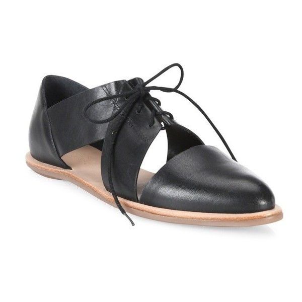 Loeffler Randall Willa Cutout Leather Oxfords ($250) ❤ liked on Polyvore featuring shoes, oxfords, black, flats, flat pumps, black leather oxfords, flat shoes, black leather shoes and cutout flats
