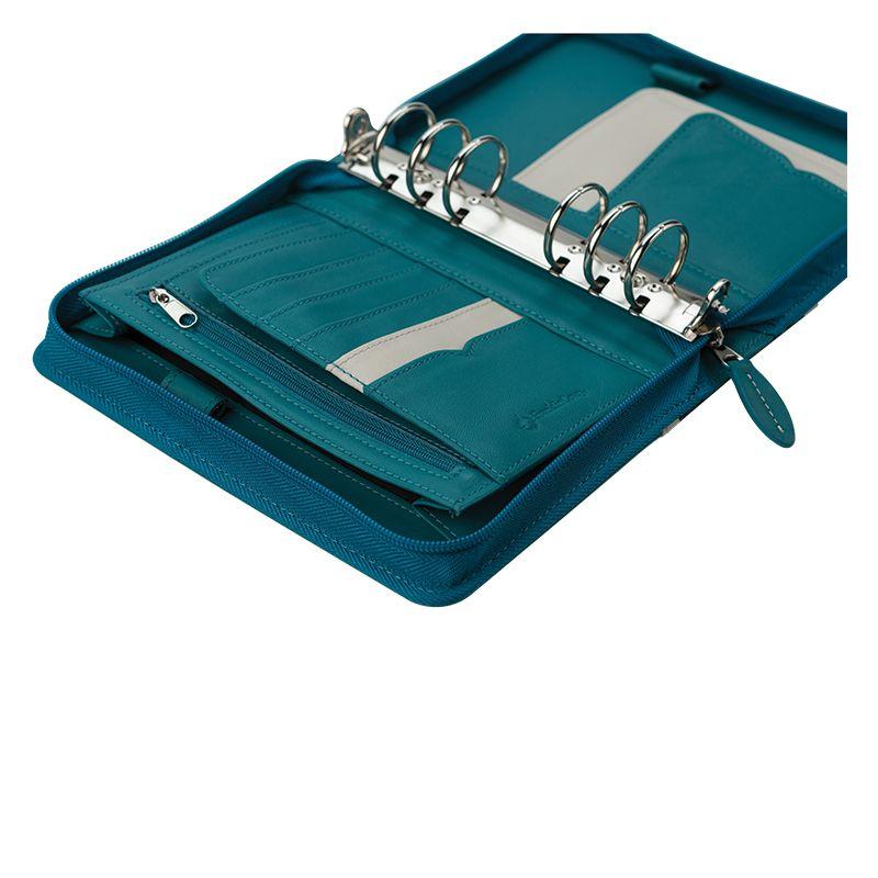 Compact Bailey Leather Zipper Binder