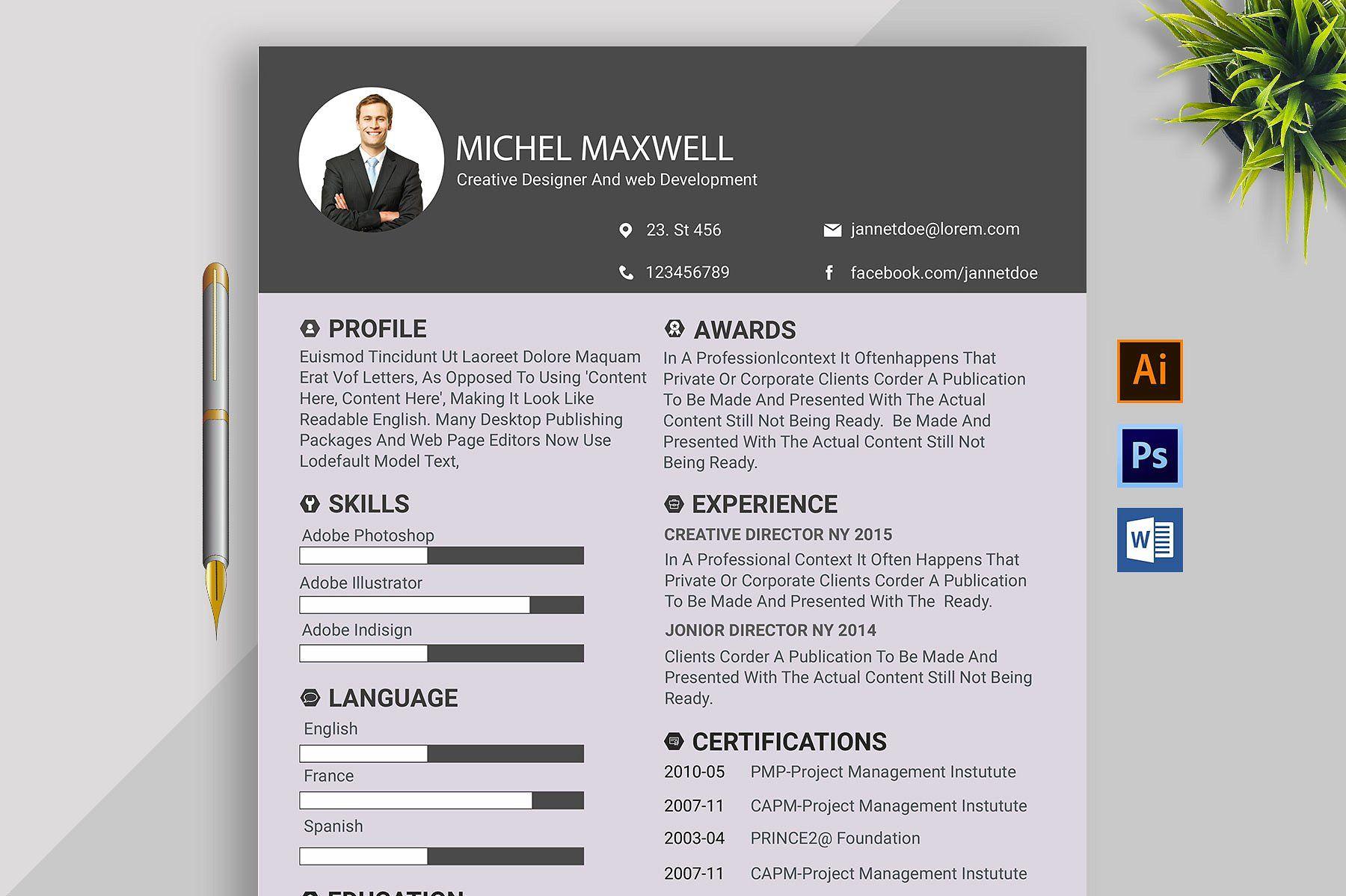 Clean Resume Cv Design Template Cv Design Template Resume Design Template Cv Design