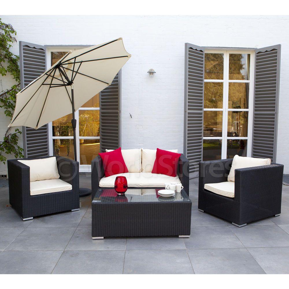 Santorini Garden Lounge Set Sofa 2 Armchairs Table Rattan