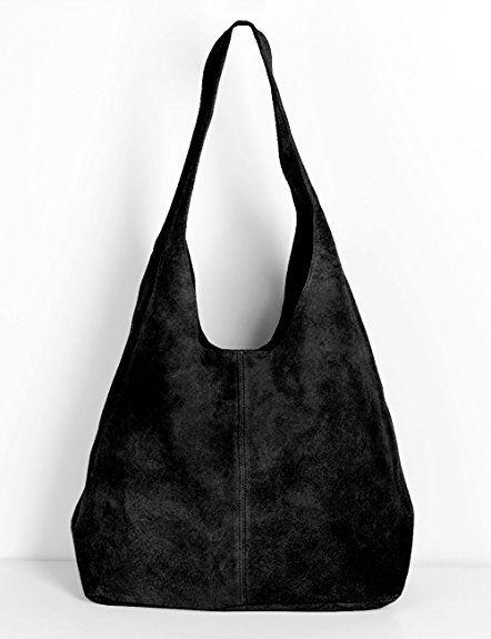 65a18a2e4232e Ledertasche schwarz Lederhandtasche Tasche Shopper Wildleder Handtaschen  Schultertaschen Beuteltasche Leder DIN-A4 20-bl