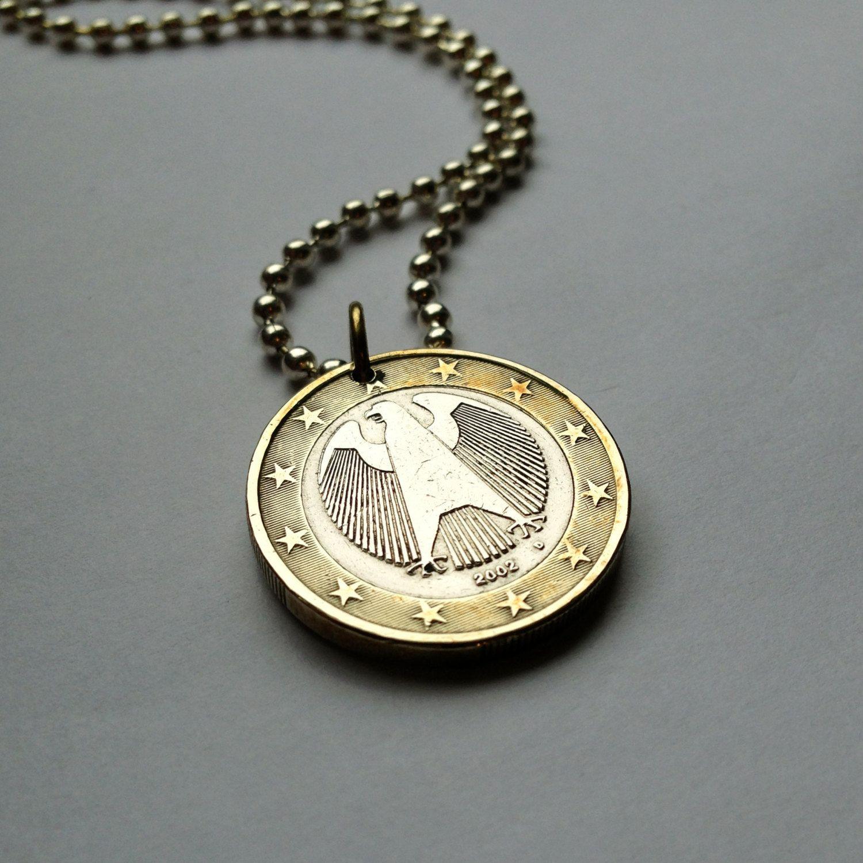 2002 Germany 1 Euro Coin Pendant German Eagle Berlin Deutschland