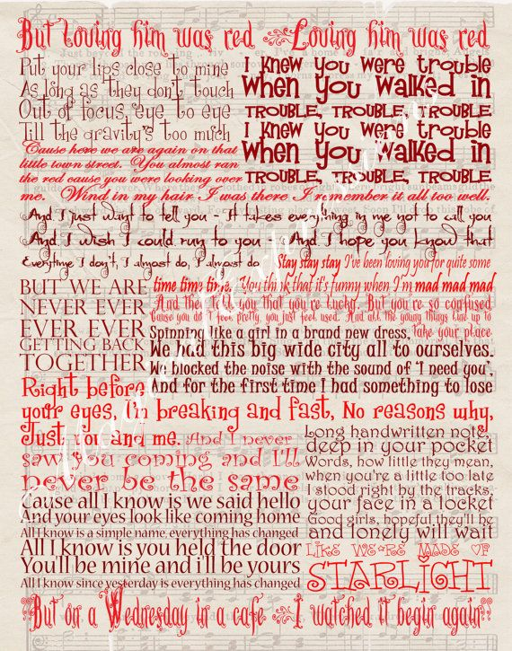 Yes Please All Red Lyrics Taylor Swift Band Typography Red Song Lyric By Magicalexpressions 30 00 Taylor Swift Lyrics Taylor Lyrics Taylor Swift Songs