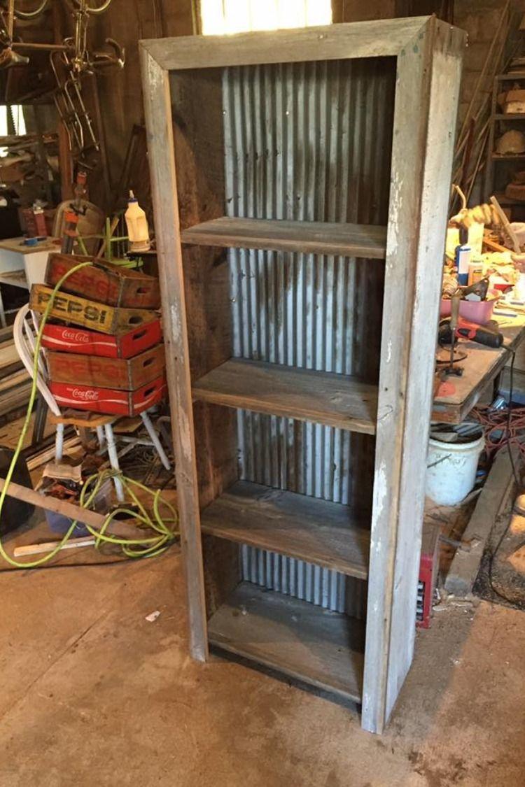 Corrugated Metal And Barn Wood Shelf Plans Revival Woodworks Barn Wood Crafts Barnwood Shelves Barn Wood