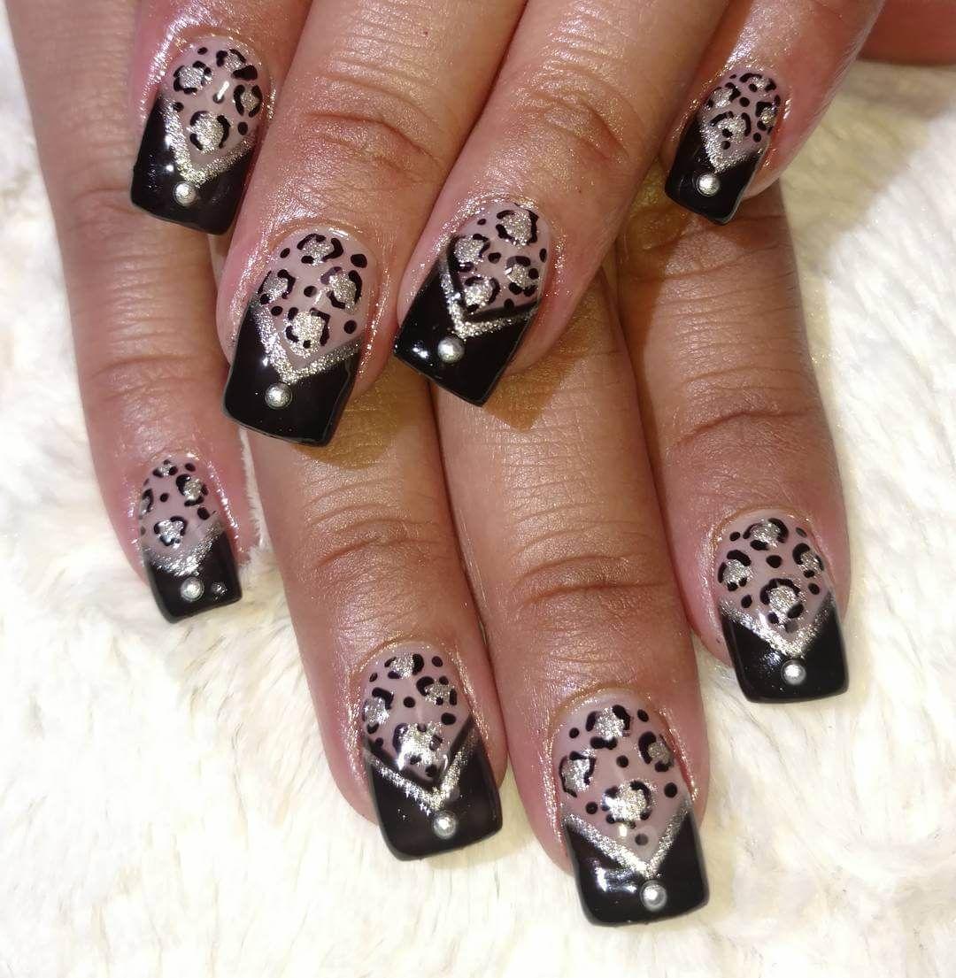 Black Color Nail Design Cheetah Printg 10801105 Nail Ideas
