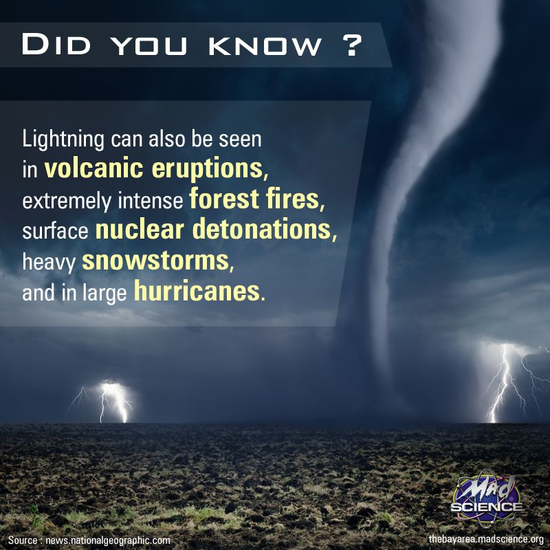 Lightning can also be seen in volcanic eruptions, extremely intense ...