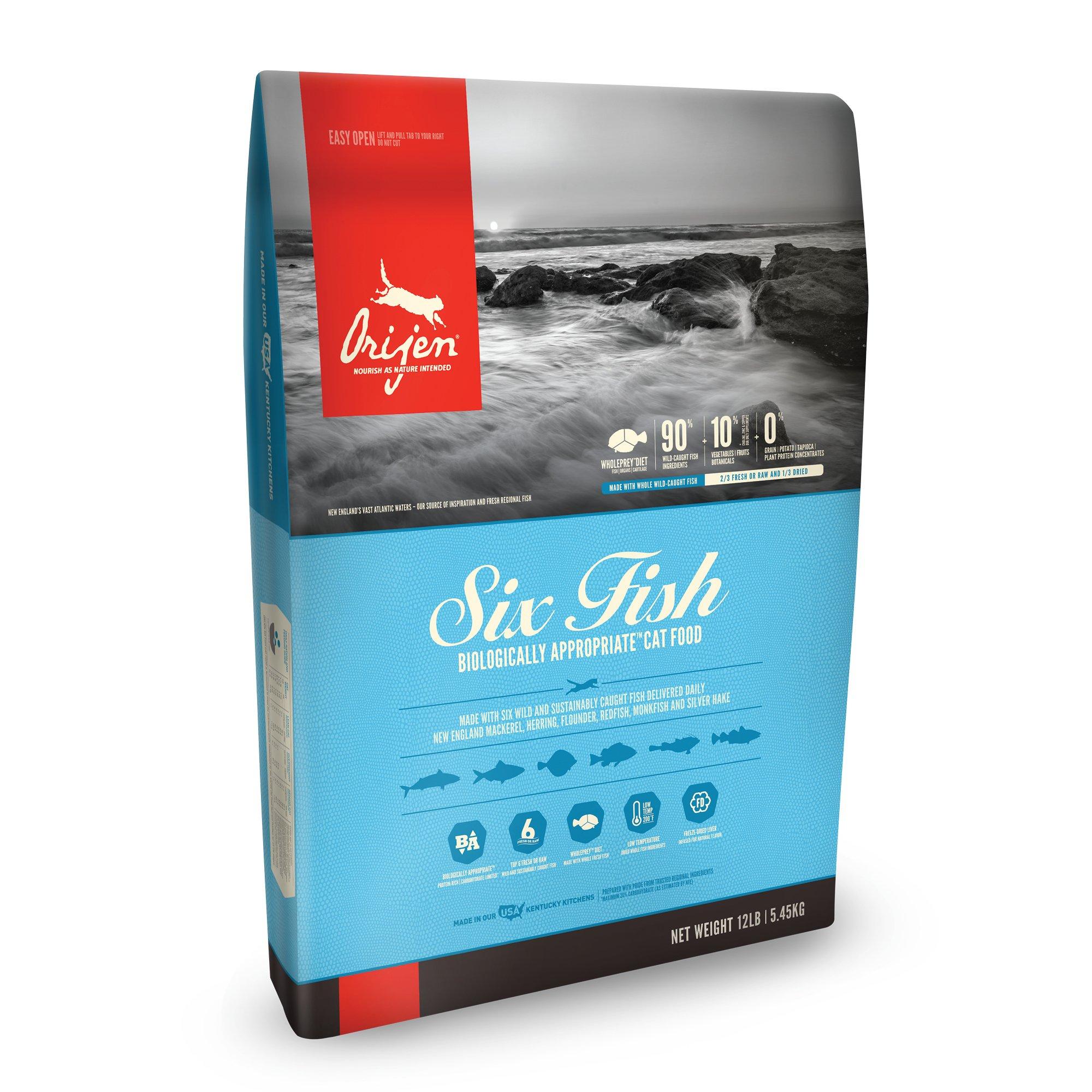 ORIJEN Six Fish Dry Cat Food, 12 lbs Dry cat food, Cat