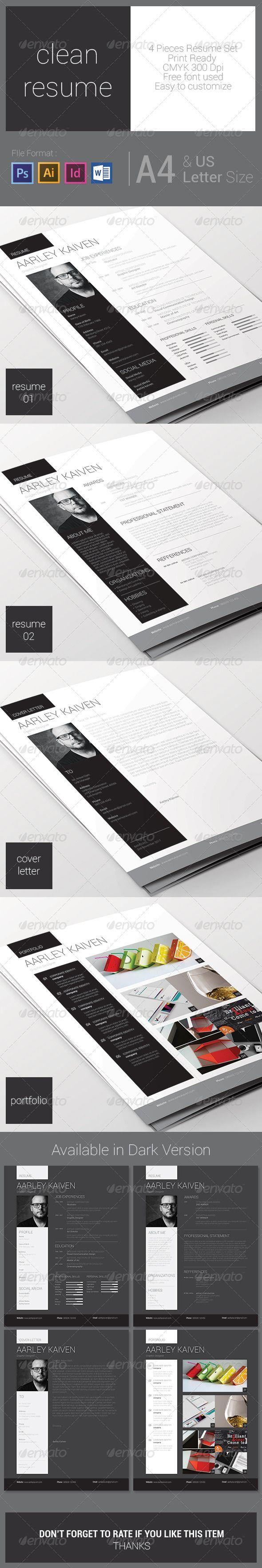 Clean Resume Set Cv Design Portfolio Design Design