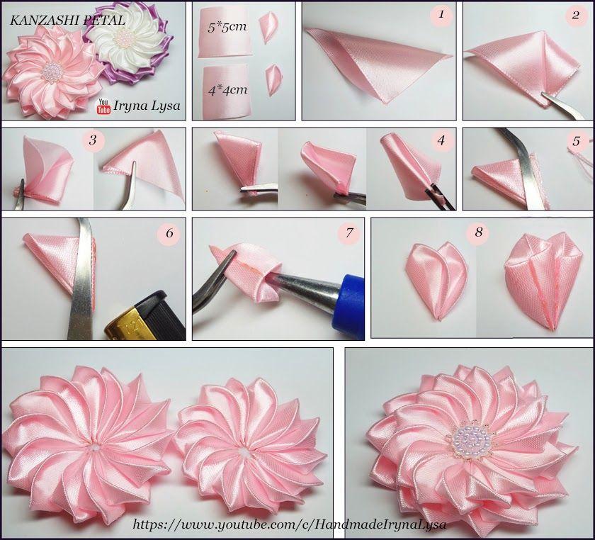 Kanzashi Tutorial Kanzashi Tutorial Fabric Flower Tutorial Ribbon Flower Tutorial
