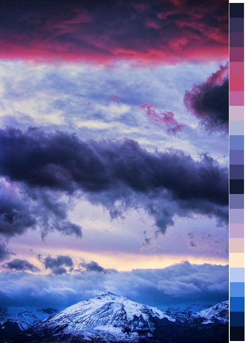 red landscape black blue pink purple colors light blue Peach transparent dark blue color palette lavander dark purple