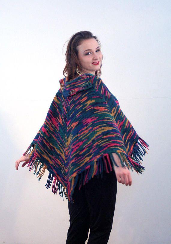 8bb743ed9 70s Rainbow Poncho, Fringed Hippie Boho Vintage 1970s Soft Knit Colorful  Sweater Cape, One Size Peti