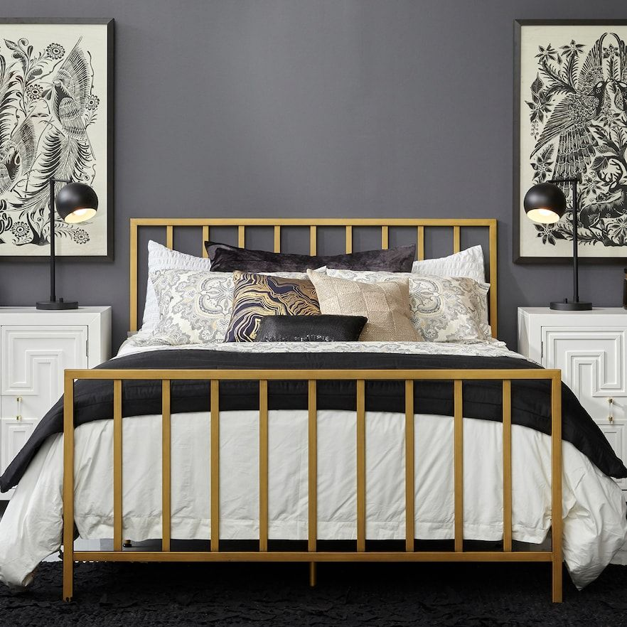 Pin By J L Walker On Dream House 2020 Gold Bed Frame Queen