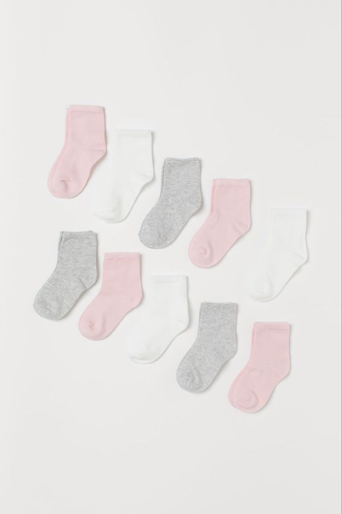 10 Pack Socks Light Pink White Gray Kids H M Us Grey Baby Socks