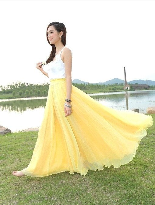 359acfb520 Bright Yellow Wedding Long Chiffon skirt Maxi Skirt Ladies Silk Chiffon  Dress Plus Sizes Sundress Nice Homecoming dress Holiday Beach Skirt.