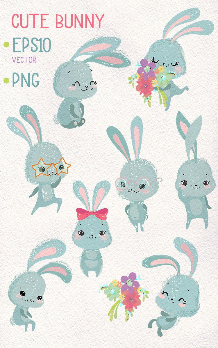 Bunny Clipart Spring Bunnies Clipart Set Sweet Clipart Etsy Bunny Drawing Baby Bunnies Drawing Rabbit Art