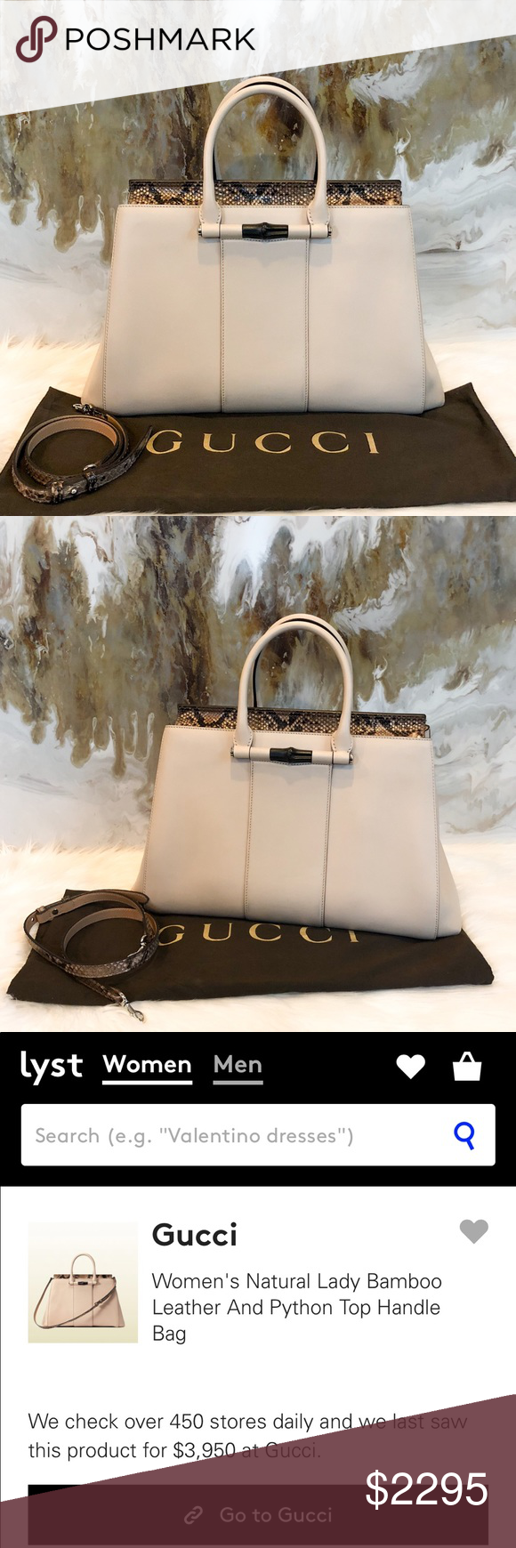 20081f48aa1d 4K Gucci Lady Bamboo Leather Python Top Handle Bag Authentic Gucci Lady  Bamboo Python & Nude
