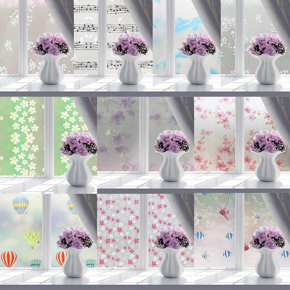 Photo of Window Film No Glue Static Decorative Privacy Bathroom Glass Sticker 45x100cm – as the picture as