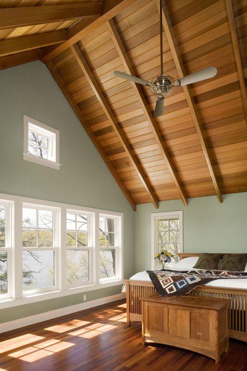 Vaulted Ceiling Houzz Brown Furniture Bedroom Eclectic Bedroom Design Wood Plank Ceiling